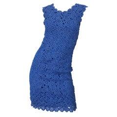 1950s Blue Raffia Demi Couture Beautiful Vintage Crochet 50s Wiggle Dress