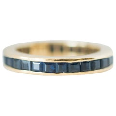 1950s Blue Sapphire and 18 Karat Yellow Gold Eternity Band