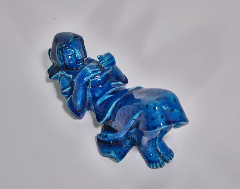 Danish 1950s Blue Stoneware Figure by Helge Christoffersen for Royal Copenhagen For Sale