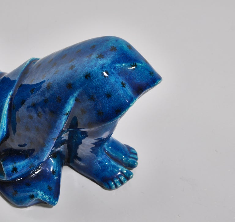 Mid-20th Century 1950s Blue Stoneware Figure by Helge Christoffersen for Royal Copenhagen For Sale