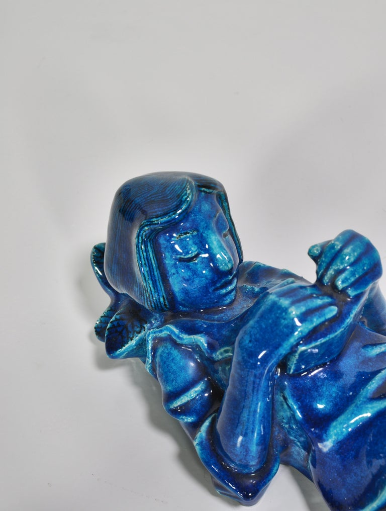 1950s Blue Stoneware Figure by Helge Christoffersen for Royal Copenhagen For Sale 1