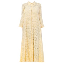 1960S White & Yellow Poly Blend Floral Daisy Lace Duster Dress With Pockets