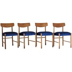 1950s Blue Velvet Vintage Dining Chairs, Set of Four, Made in Italy