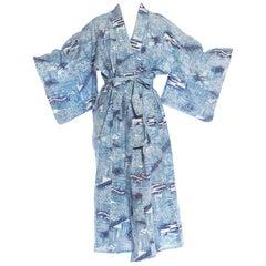 1950S Blue & White Japanese Cotton Lightweight Unlined Kimono