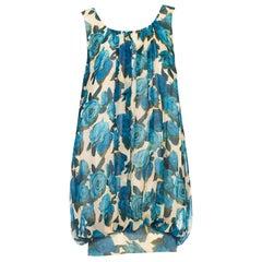 1950S Blue & White Silk Chiffon Balenciaga Style Rose Printed Baloon Dress