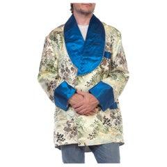 1950S Blue & White Silk Cotton Chinoiserie Shawl Collar Smoking Jacket With Cor