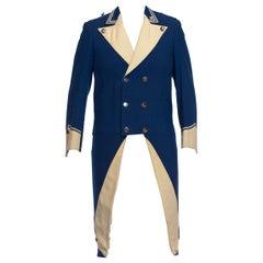 1950S Blue & White Wool Men's 18Th Century Style Rfevolutionary Jacket With Tai
