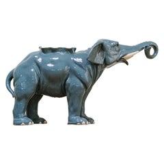 1950s Blue Glazed Ceramic Elephant Planter