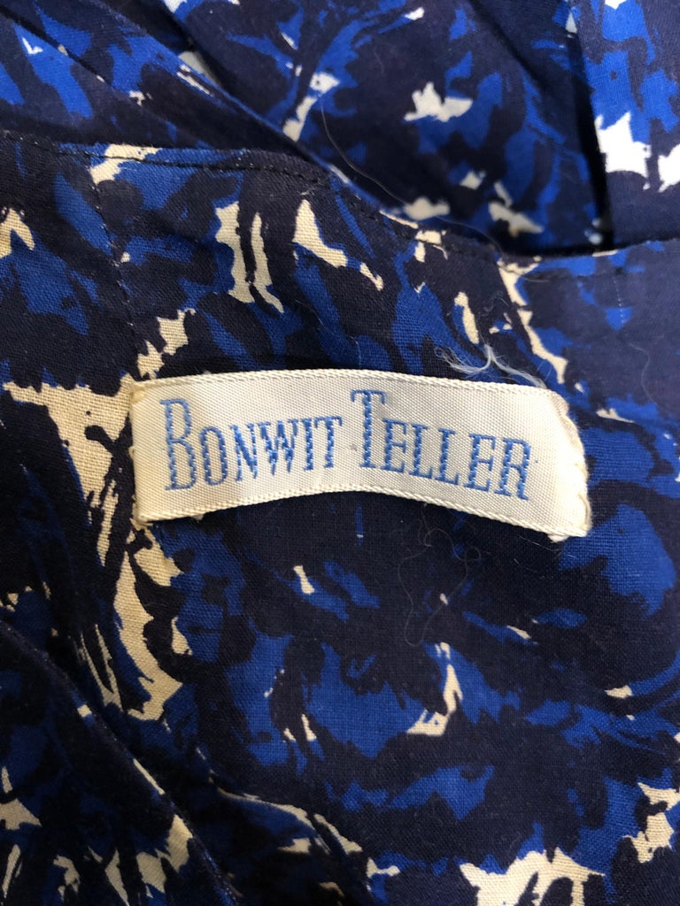 1950s Bonwit Teller Demi Couture Blue Abstract Floral Fit n' Flare Vintage Dress For Sale 11