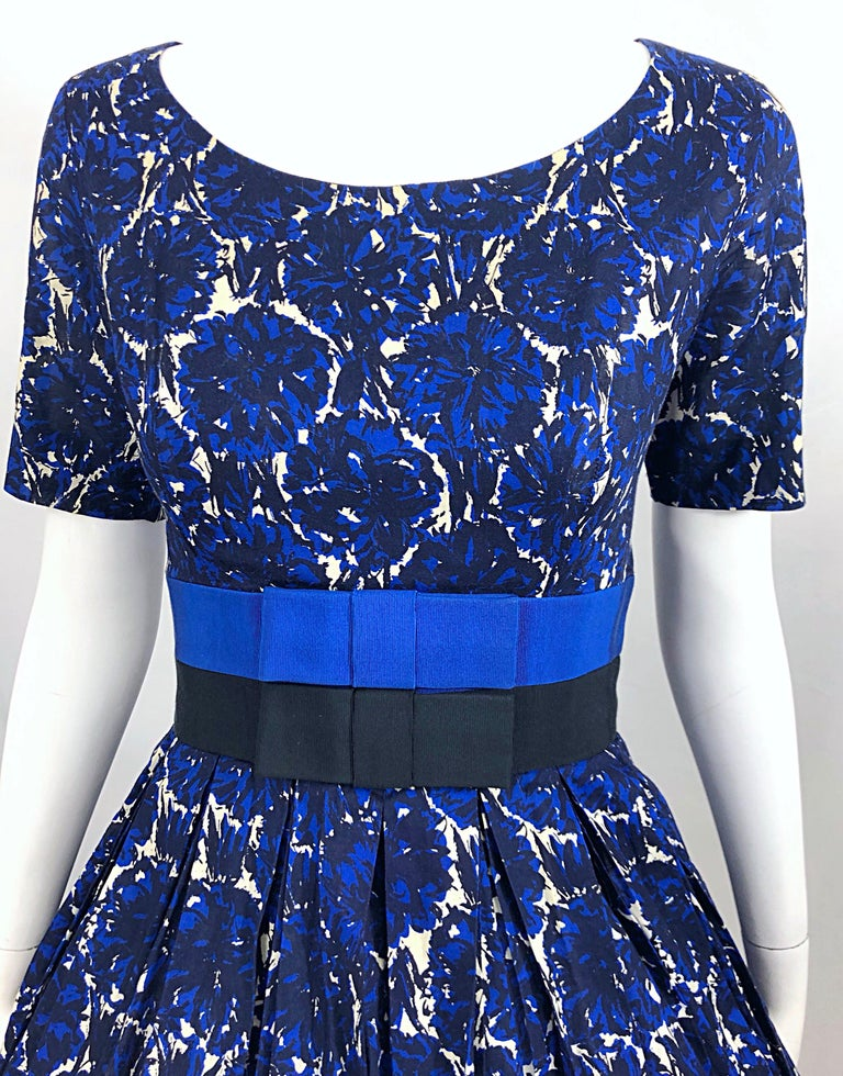 1950s Bonwit Teller Demi Couture Blue Abstract Floral Fit n' Flare Vintage Dress In Good Condition For Sale In Chicago, IL