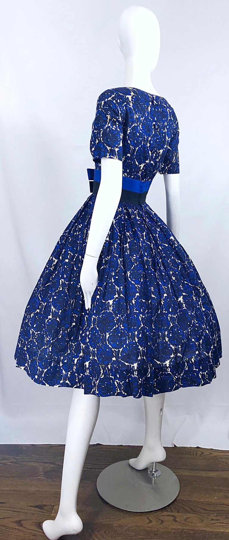 1950s Bonwit Teller Demi Couture Blue Abstract Floral Fit