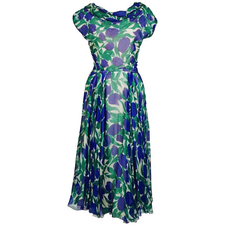 1950's BONWIT TELLER vibrant floral printed silk chiffon dress