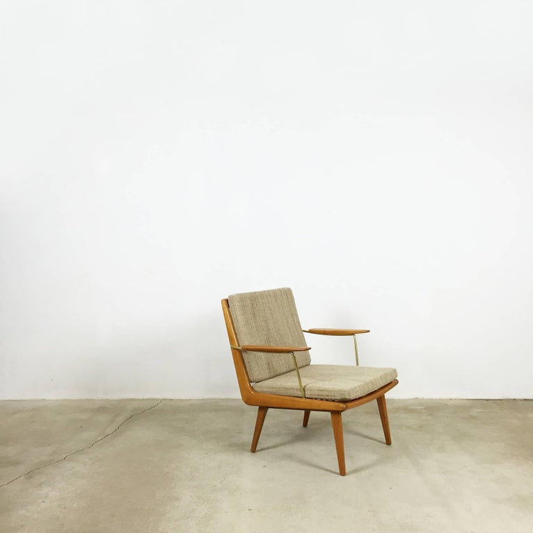 Hans mitzlaff Soloform boomerang easy chair made by Eugen Schmidt, Soloform.  This armchair easy chair was designed by Hans Mitzlaff & Albrecht Lange in 1953 and manufactured by Eugen Schmidt Soloform. It is made from solid wood. All original
