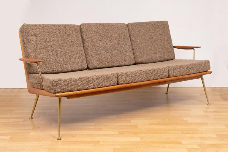 1950s Boomerang sofa and two easy chairs designed by Hans Mitzlaff and Eugen Schmidt. Manufactured by Soloform/Eugen Schmidt in Germany. Designed in 1953 with a solid cherry wood frame. Restored and reupholstered in Bute fabric. In very good vintage