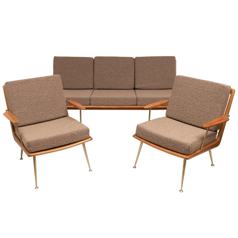 1950s Boomerang Sofa & 2 Easy Chairs by Hans Mitzlaff for Soloform, Germany For Sale
