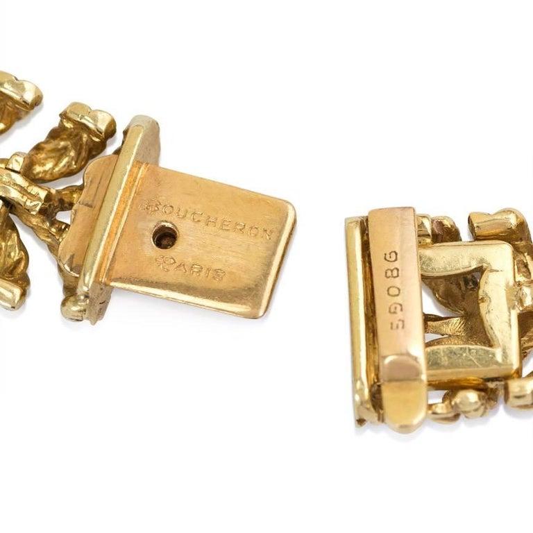 Retro 1950s Boucheron Gold and Diamond Plume Design Necklace For Sale
