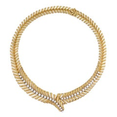 1950s Boucheron Gold and Diamond Plume Design Necklace