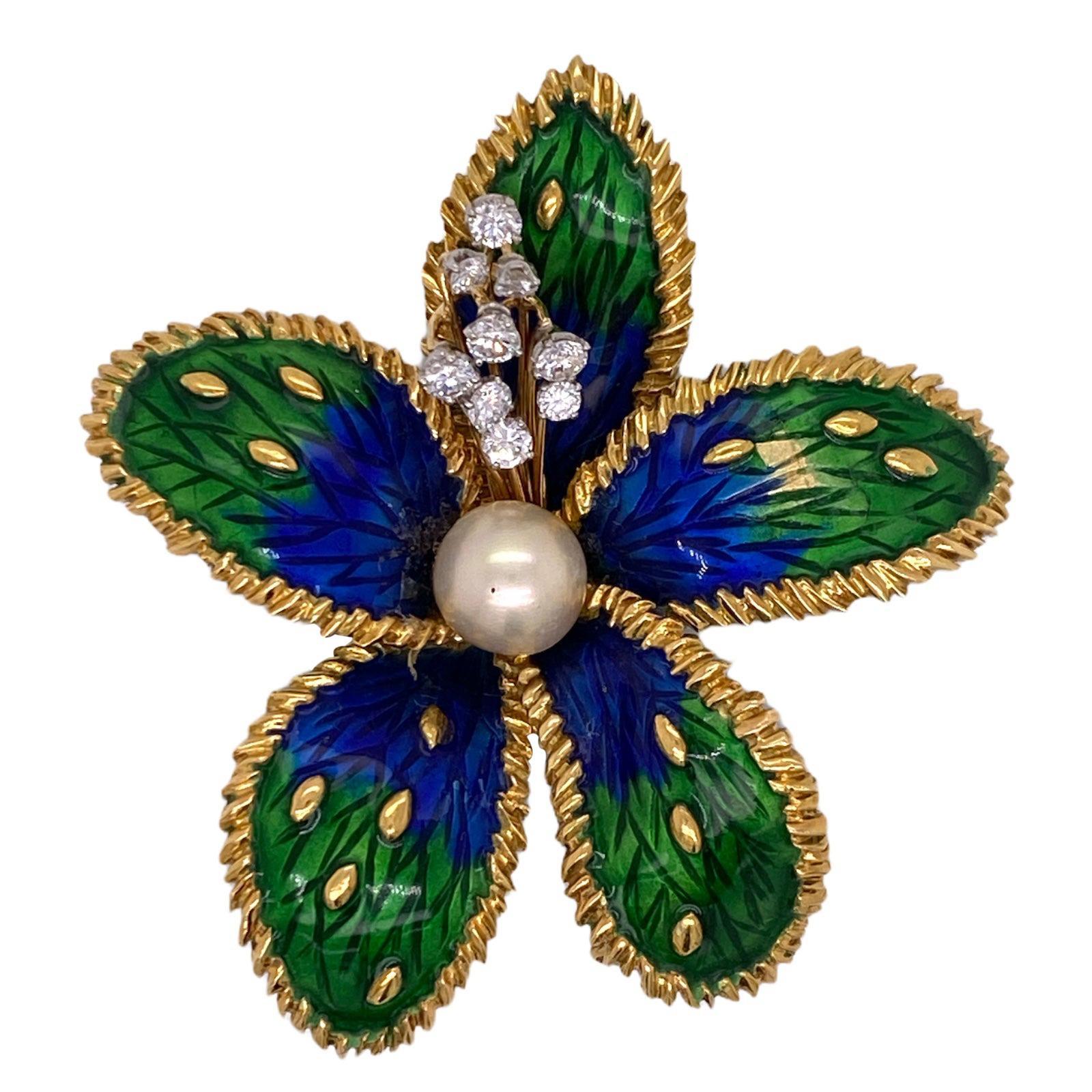 1950's Boucheron Paris Diamond Enamel 18 Karat Yellow Gold Floral Brooch Pin