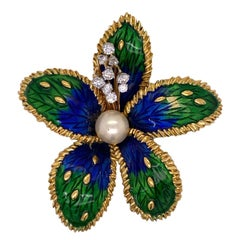 1950's Boucheron Paris Diamond Enamel 18 Karat Yellow Gold Floral Brooch Pin