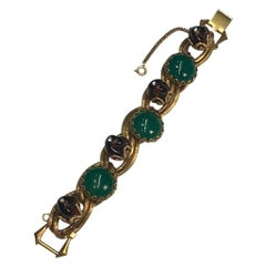 1950s Bracelet with Green Cabochons & Amber Beads, Henkel & Grosse