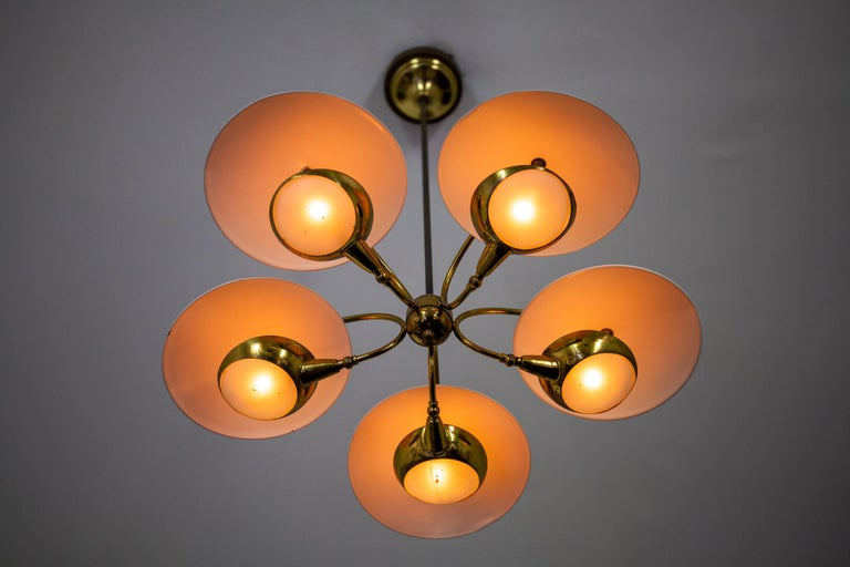 1950s Brass and Black Italian Chandelier For Sale 4