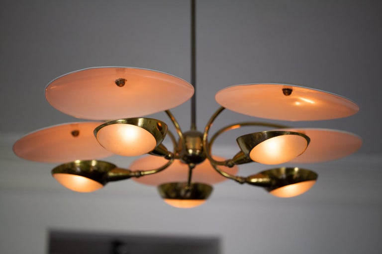 1950s Brass and Black Italian Chandelier For Sale 8