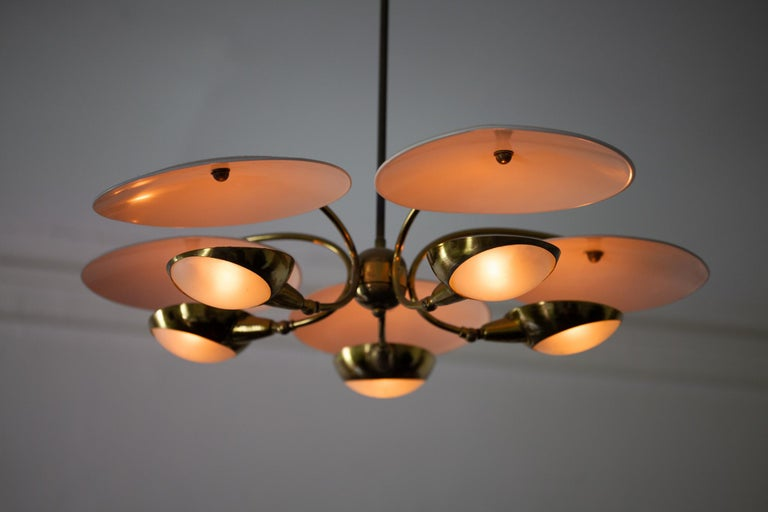 1950s Brass and Black Italian Chandelier For Sale 9