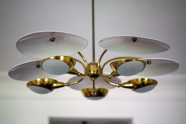 1950s Brass and Black Italian Chandelier For Sale 10