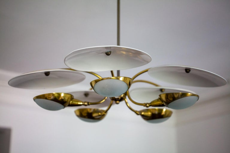 Mid-20th Century 1950s Brass and Black Italian Chandelier For Sale