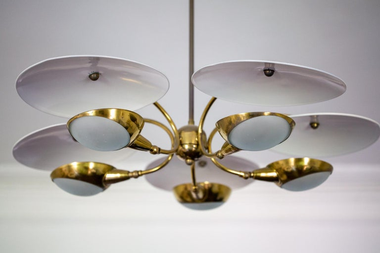 1950s Brass and Black Italian Chandelier For Sale 1