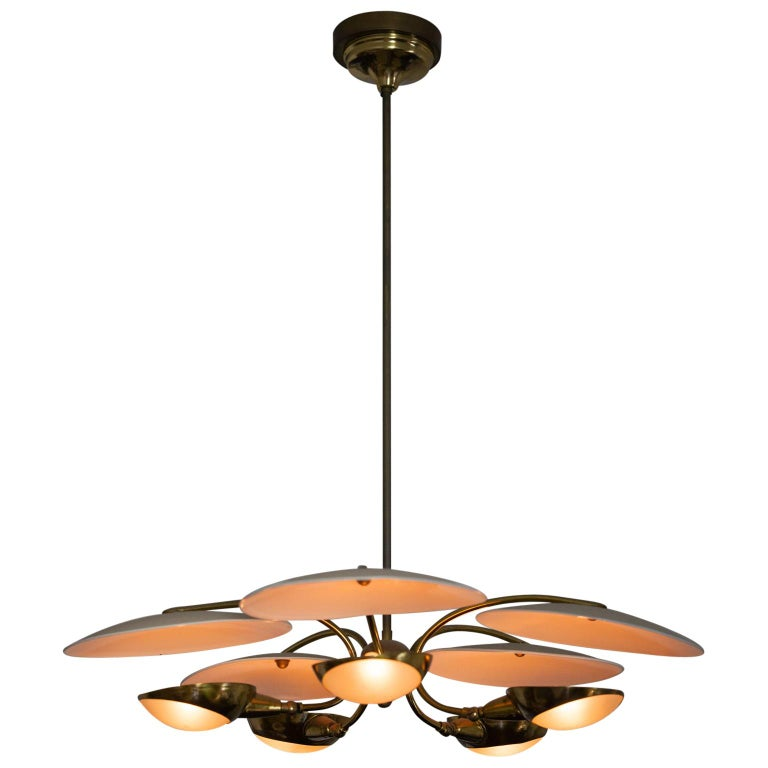 1950s Brass and Black Italian Chandelier For Sale