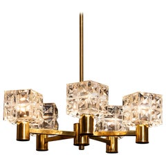 1950s, Brass and Crystal Chandelier by Tyringe Konsthantverk, Sweden