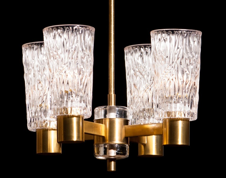 1950s, Brass and Crystal Glass Chandelier by Carl Fagerlund Orrefors, Sweden 1