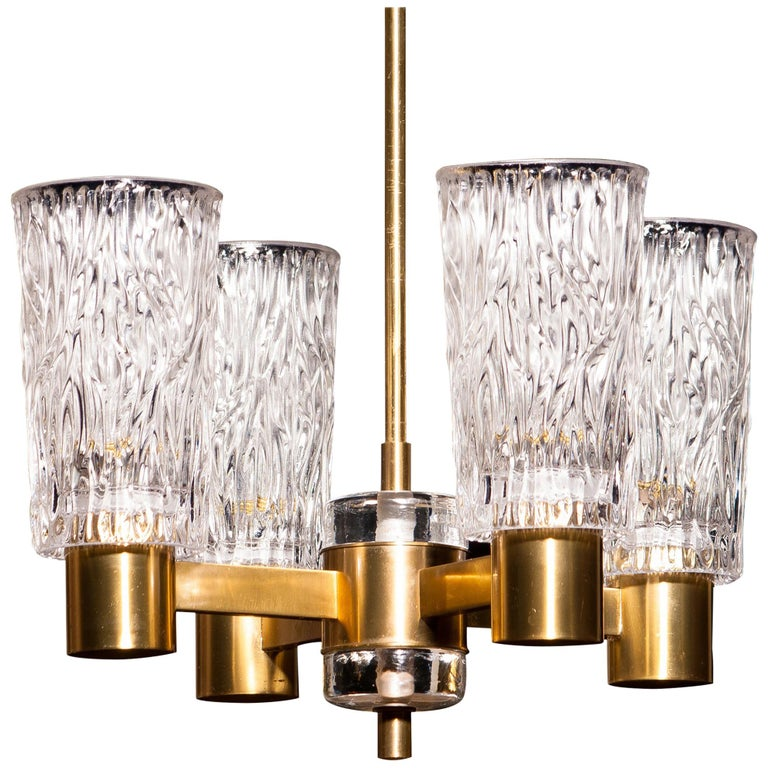 1950s, Brass and Crystal Glass Chandelier by Carl Fagerlund Orrefors, Sweden