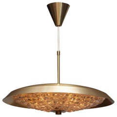 1950s, Brass and Glass Ceiling Lamp Designed by Carl Fagerlund for Orrefors