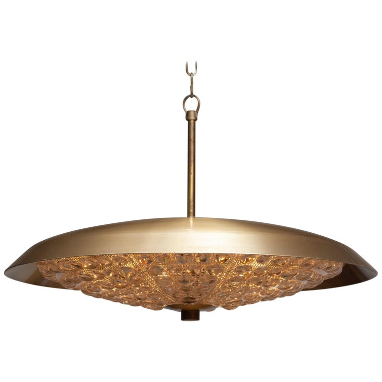 Beautiful ceiling light / flushmount designed by Carl Fagerlund for Orrefors, Sweden, 1950. Fixture consist six fittings. Type E14 / 17. Technically 100% The overall condition is good.
