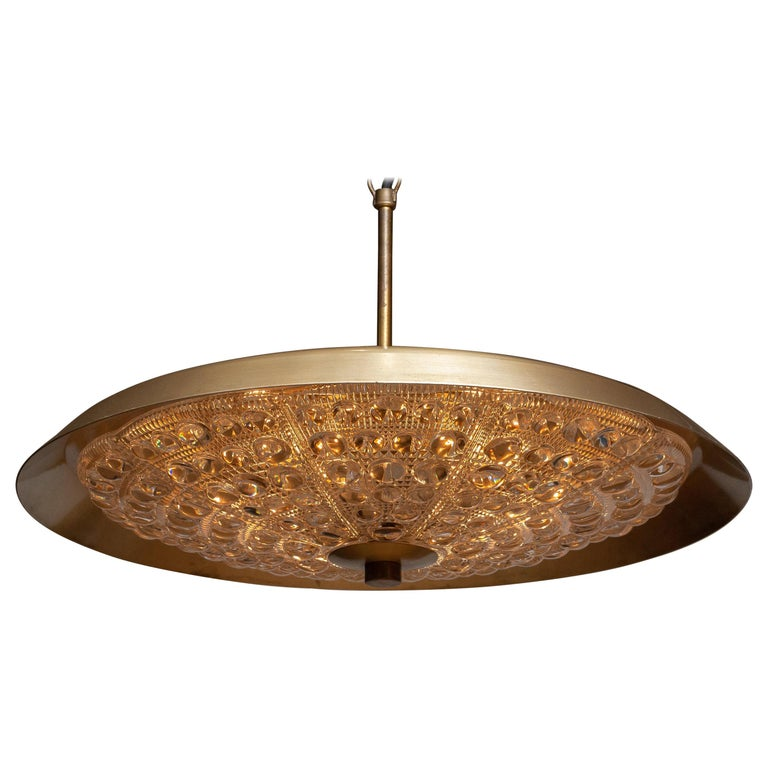 Mid-Century Modern 1950s, Brass and Glass Pendant Lamp Designed by Carl Fagerlund for Orrefors