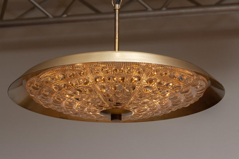 Swedish 1950s, Brass and Glass Pendant Lamp Designed by Carl Fagerlund for Orrefors