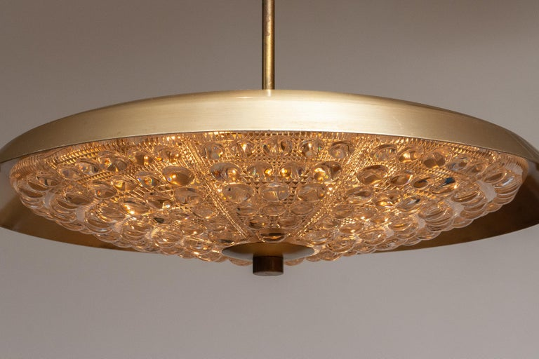 Mid-20th Century 1950s, Brass and Glass Pendant Lamp Designed by Carl Fagerlund for Orrefors