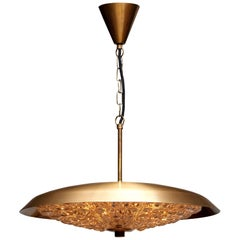 1950s, Brass and Glass Pendant Lamp Designed by Carl Fagerlund for Orrefors