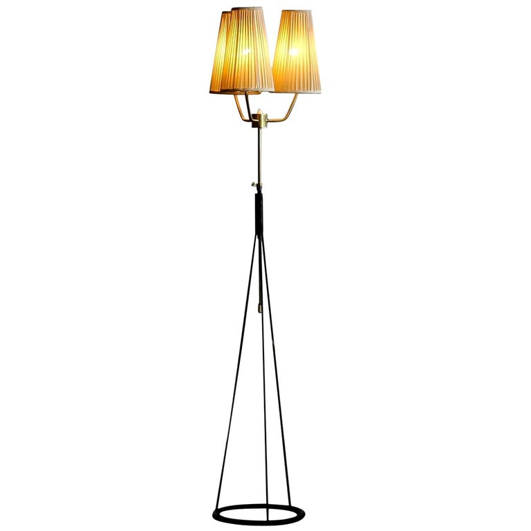 Mid-Century Modern 1950s, Brass and Metal Floor Lamp by Falkenbergs Belysning, Denmark For Sale