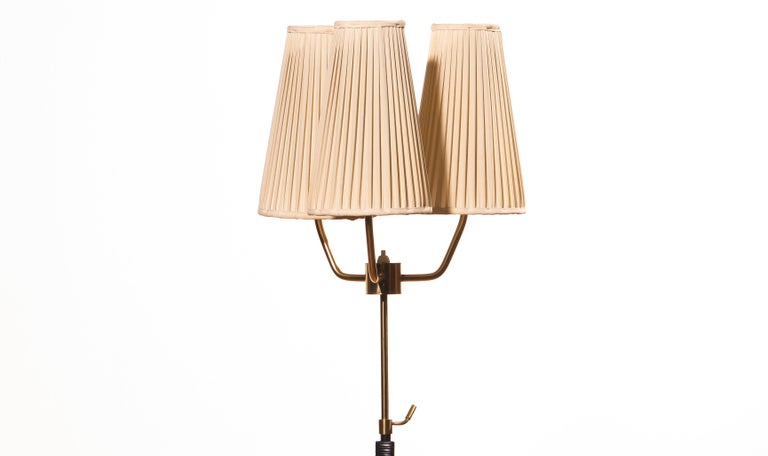 1950s, Brass and Metal Floor Lamp by Falkenbergs Belysning, Denmark For Sale 1