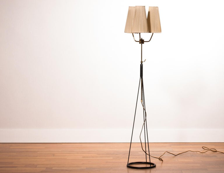 1950s, Brass and Metal Floor Lamp by Falkenbergs Belysning, Denmark For Sale 2