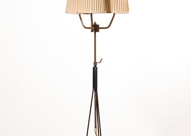 1950s, Brass and Metal Floor Lamp by Falkenbergs Belysning, Denmark For Sale 3
