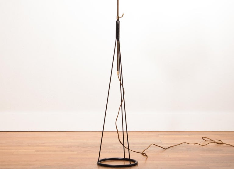 1950s, Brass and Metal Floor Lamp by Falkenbergs Belysning, Denmark For Sale 4