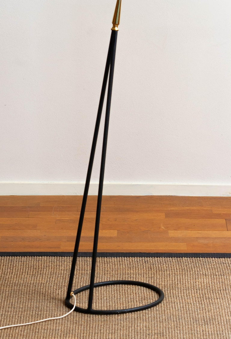 1950s Brass and Metal Floor Lamp by Falkenbergs Belysning, Sweden 4