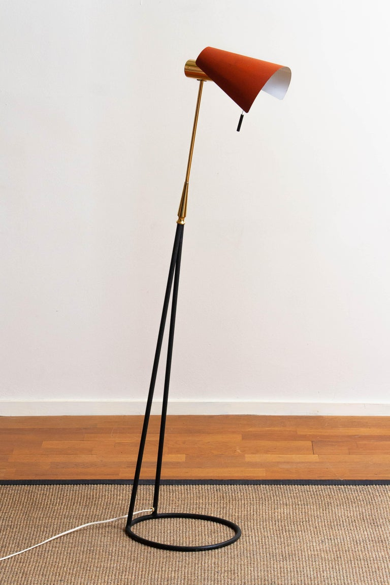 1950s Brass and Metal Floor Lamp by Falkenbergs Belysning, Sweden 7