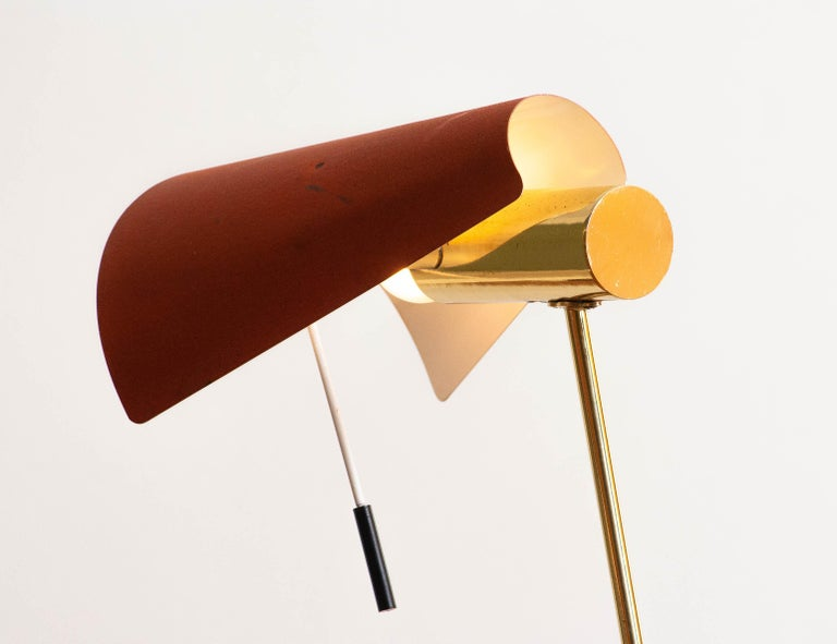 Mid-20th Century 1950s Brass and Metal Floor Lamp by Falkenbergs Belysning, Sweden