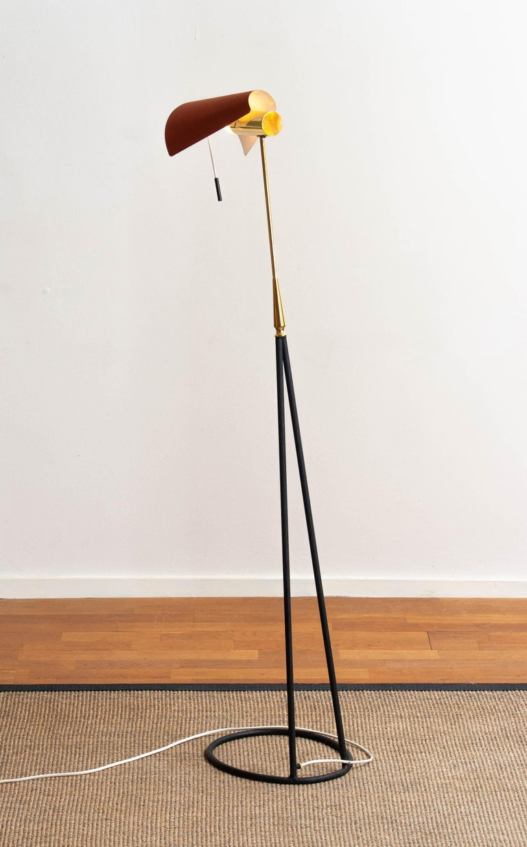 1950s Brass and Metal Floor Lamp by Falkenbergs Belysning, Sweden 1