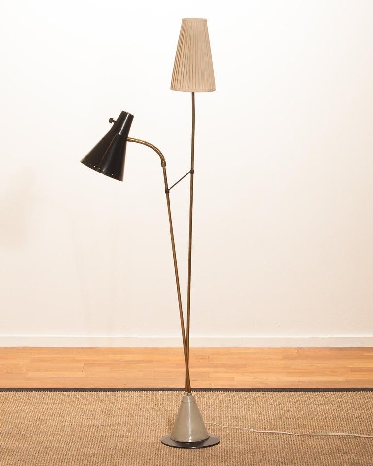 1950s, Brass and Metal Floor Lamp by Hans Bergström for Ataljé Lyktan For Sale 6